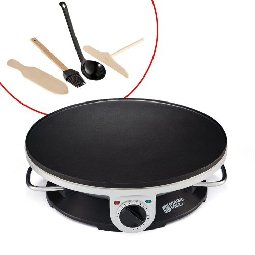 """Magic Mill 13"""" Professional Electric Crepe Maker & Griddle, Non-stick Cooking Plate, Variable Temperature Control, Includes: Batter Spreader, Wooden Spatula, Oil Brush and ladle, 1000 W - Crepe Makers"""