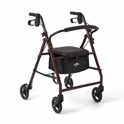 """Medline Steel Foldable Adult Rollator Mobility Walker with 6"""" Wheels, Burgundy - Rollator Walkers with Seat"""