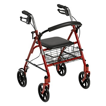 Drive Medical Four Wheel Rollator with Fold Up Removable Back Support, Red - Rollator Walkers with Seat