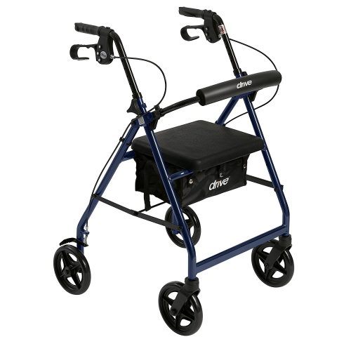 """Drive Medical Aluminum Rollator Walker Fold Up and Removable Back Support, Padded Seat, 6"""" Wheels, Black - Rollator Walkers with Seat"""