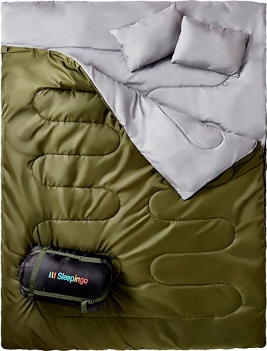 """""""Sleepingo Double Sleeping Bag For Backpacking, Camping, Or Hiking. Queen Size XL! Cold Weather 2 Person Waterproof Sleeping Bag For Adults Or Teens. Truck, Tent, Or Sleeping Pad, Lightweight"""" - Sleeping Bags"""