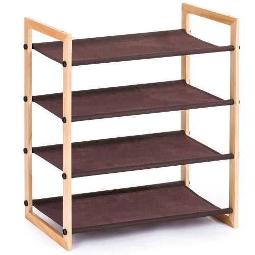 MaidMAX 4 Tiers Stackable Wooden Shoe Rack Shelf for 12 Pairs of Shoes Storage