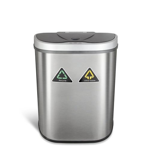 Ninestars DZT-70-11R Automatic Touchless Motion Sensor Semi-Round Trash Can/Recycler, 18.5 Gal. 70 L, Stainless Steel - Stainless Steel Trash Cans