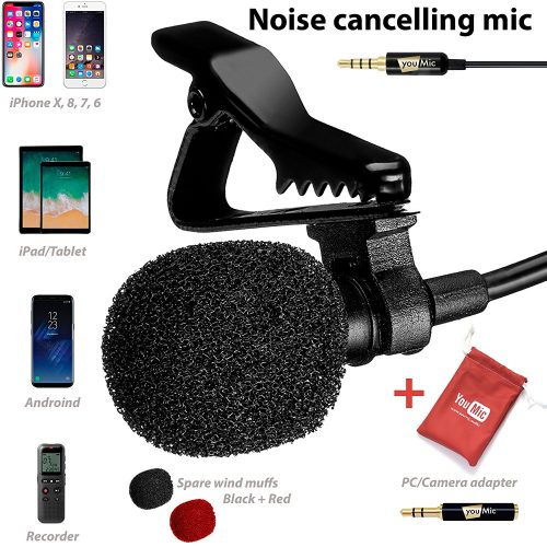 Lavalier Lapel Microphone with Easy Clip-On System - Perfect for Recording Youtube Vlog Interview/Podcast - Best Lapel Mic for iPhone 5, 6, 6s, 7, seven-plus, 8, X iPad iPod Android Mac PC ASMR