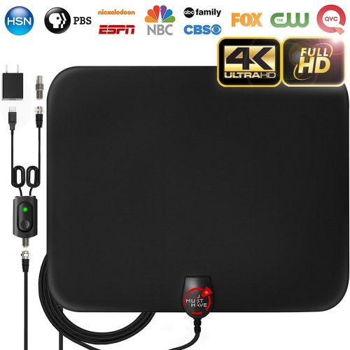 Amplified HD Digital TV Antenna with Long 65-80 Miles Range – Support 4K 1080p & All Older TV's for Indoor with Powerful HDTV Amplifier Signal Booster - 18ft Coax Cable / Power Adapter