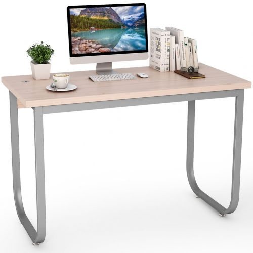 """Tribesigns 47"""" Simple Modern Computer Desk PC Laptop Study Writing Desk/Table for Home Office, Sturdy Metal Frame (Oak) - Study Tables"""
