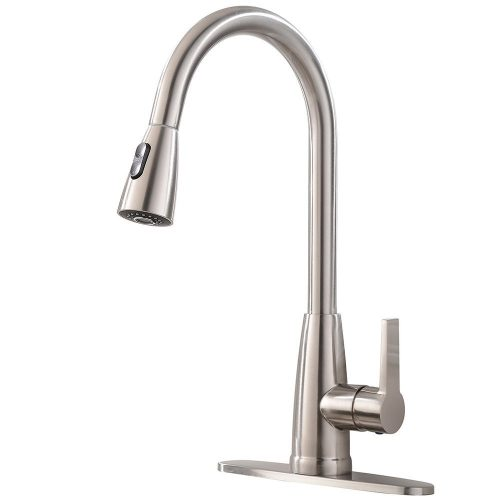 Friho Modern Commercial Lead-Free Stainless Steel Single Lever Handle High Arc Pull-Down Sprayer Kitchen Sink Faucet, Brushed Nickel Pull Out Kitchen Faucets with Deck Plate