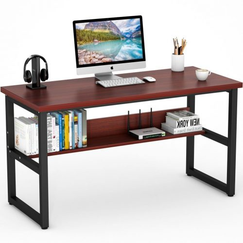 "Tribesigns Computer Desk with Bookshelf, 55"" Simple Modern Style Writing Desk with Heavy-Duty Metal Legs, Super Sturdy Office Desk Study Table Workstation for Home Office (55"" Cherry) - Study Tables"