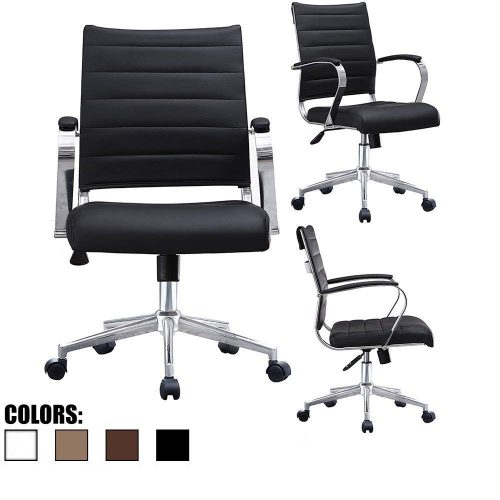 2xhome Black Modern Mid Back Ribbed PU Leather Swivel Tilt-Adjustable Chair Designer Boss Executive Management Manager Office Chair Conference Room Ergonomic Computer Contemporary With Arms Wheels