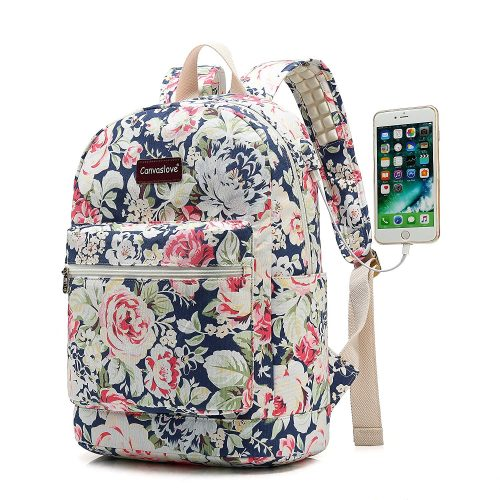 Canvaslove Blue Rose Canvas Waterproof laptop backpack with Massage Cushion  Straps and USB charging port for b2dcee7e28