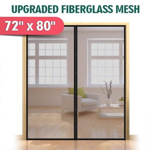 """Upgraded 72""""x80"""" Magnetic Screen Door for French Door, Durable Fiberglass Double Door Screen Mesh Curtain Fits Door Opening up to 70"""" x79'' Keep Bugs Out"""