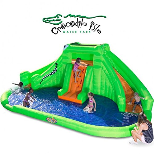 Blast Zone Crocodile Isle Inflatable Water Park with Dual Slides by Blast Zone - Inflatable Pool Slides