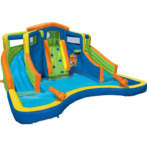 Banzai Inflatable Adventure Club Dual Slide and Pool Backyard Water Park - Inflatable Pool Slides