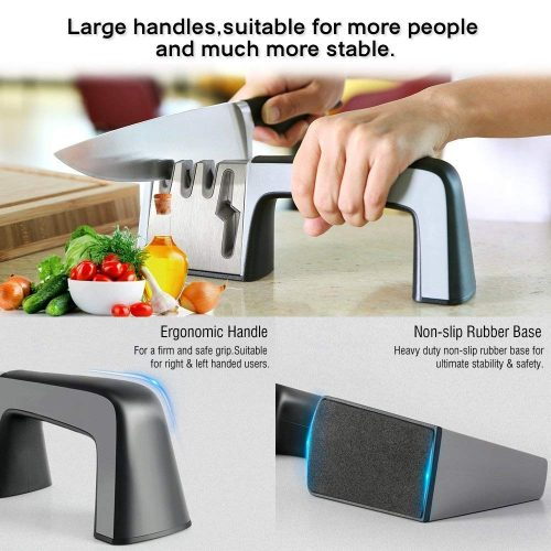 Kitchen Knife Sharpener, Professional Chef Kitchen Sharpener 4-in-1 Knife and Scissor Sharpening Kit with Non-slip Base and Ergonomic Design for Dull Knives and Scissors, Fast and Easy (Silver) - Scissor Sharpeners