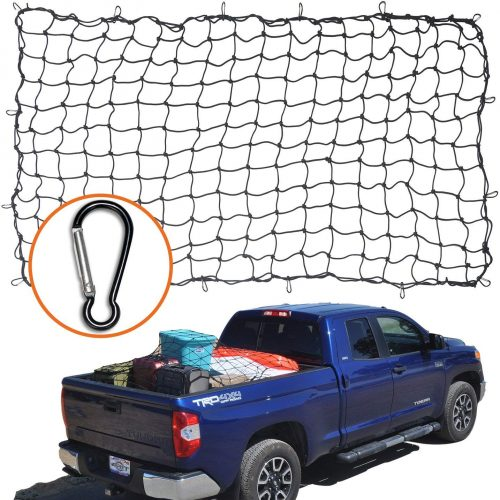 "4'x6' Super Duty Bungee Cargo Net for Truck Bed Stretches to 8'x12' | 12 Tangle-free D Clip Carabiners | Small 4""x4"" Mesh Holds Small and Large Loads Tighter - Truck Bed Covers"