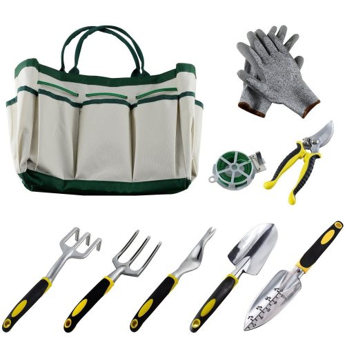 9Pcs Garden Tool Sets-a Plant Rope, Soft Gloves, 6 Ergonomic Gardening Tools and a Garden Tote