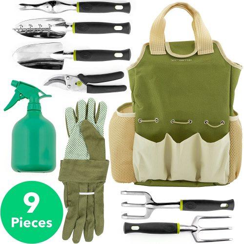 Vremi 9 Piece Garden Tools Set - Gardening Tools with Garden Gloves and Garden Tote - Gardening Gifts Tool Set with Garden Trowel Pruners and More