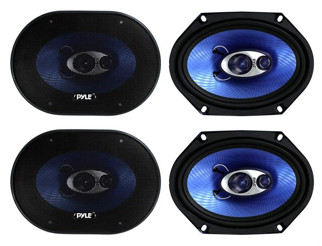 "4) NEW Pyle PL683BL 6x8"" 720 Watt 3-Way Car Coaxial Audio Speakers Stereo - Blue"
