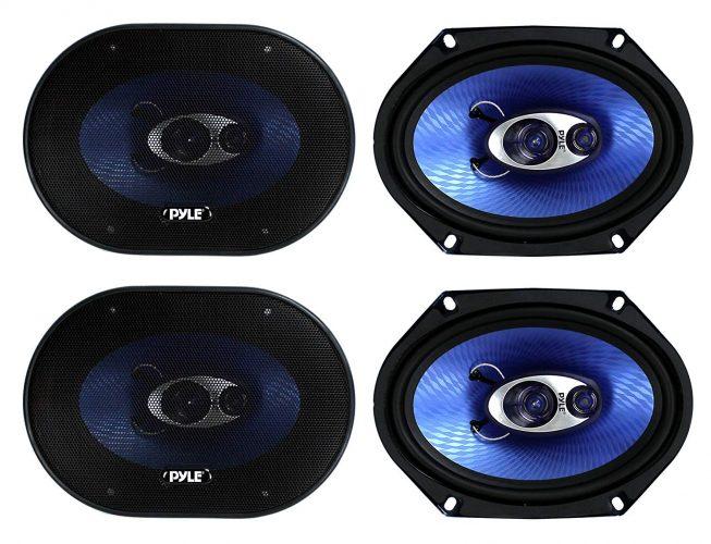 "4) NEW Pyle PL683BL 6x8"" 720 Watt 3-Way Car Coaxial Audio Speakers Stereo - Blue"
