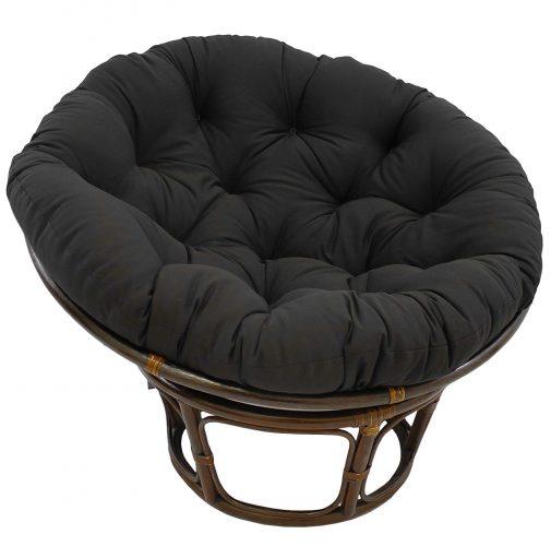 "Blazing Needles Solid Twill Papasan Chair Cushion, 52"" x 6"" x 52"", Black"