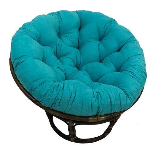 International Caravan 3312-MS-AB-IC Furniture Piece Rattan 42-inch Papasan Chair with Micro Suede Cushion