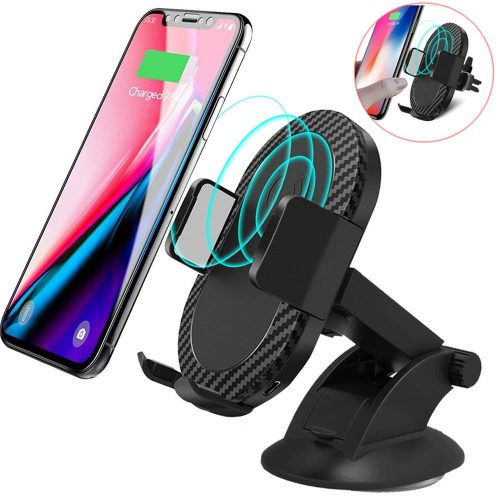 Wireless Car Charger, AEDILYS 2 in 1 10W Fast Wireless Charger Air Vent & Bracket Phone Holder for iPhoneX/8/8 Plus, Samsung Galaxy S9/S9+/Note 8/S8/S8 Plus/S7/S6 Edge All Qi Enabled.