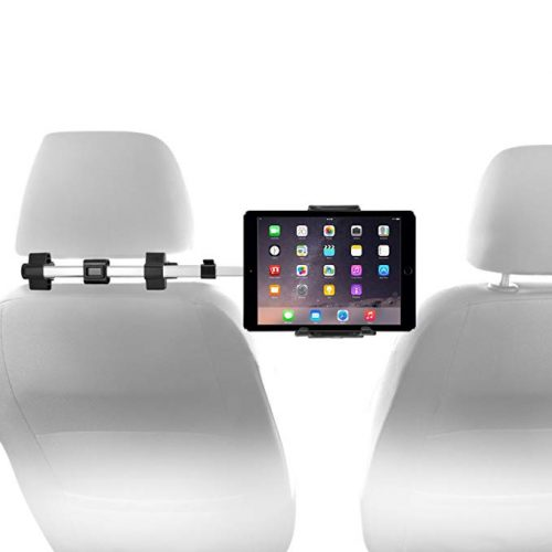"""Macally Car Headrest Mount Holder for Apple iPad Pro / Air / Mini, Tablets, Nintendo Switch, iPhone, & Smartphones 4.5"""" to 10"""" Wide with Dual Adjustable Positions and 360° Rotation (HRMOUNTPRO) - Ipad Car Mounts"""