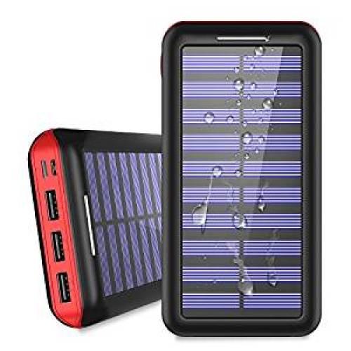 Portable Charger 24000mAh Solar Power Bank, 2 Input & 3 Output USB Phone Charger - Solar Power Banks