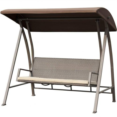 Porch Swing Outdoor Lounge Chair Seats 3 Patio PE Wicker Glider Bench with Steel Frame and Padded Cushion, Dark Brown