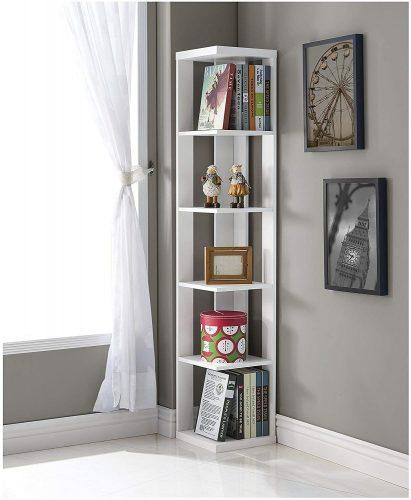 White Finish Wood Wall Corner 5-Tier Bookshelf Bookcase
