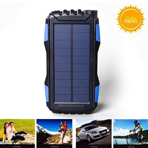 kiizon Solar Charger 25000mAh Outdoor Portable Chargers Solar Power Bank Waterproof - Solar Power Banks
