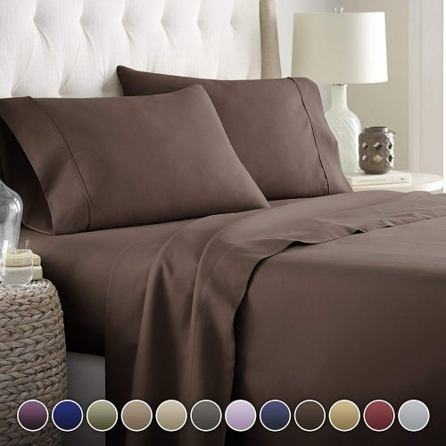 Hotel Luxury Bed Sheets Set- 1800 Series Platinum Collection-Deep Pocket, Wrinkle & Fade Resistant(Queen,Brown)