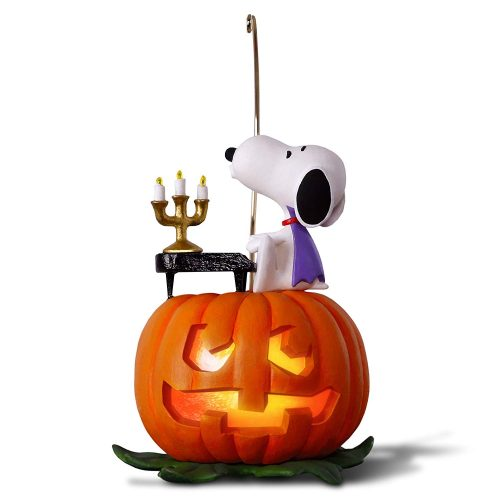 Hallmark Keepsake Halloween Decor Ornament 2019 Year Dated, Snoopy and Pumpkin, The Peanuts Gang Spooky Snoopy with Music and Light