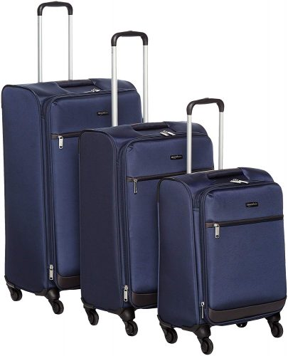 "AmazonBasics Softside Spinner Luggage - 3 Piece Set (21"", 25"", 29""), Navy Blue - luggage sets"