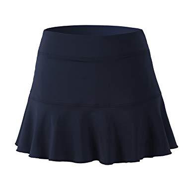 32e-SANERYI Women's Pleated Elastic Quick-Drying Tennis Skirt with Shorts Running Skirt
