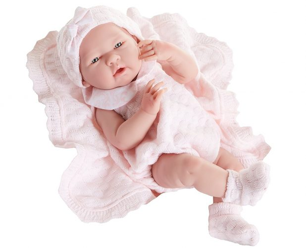 """JC Toys La Newborn Pretty in Pink Knit Blanket Gift Set. Realistic 15"""" Anatomically Correct Real Girl Baby Doll – All Vinyl Designed by Berenguer – Made in Spain"""