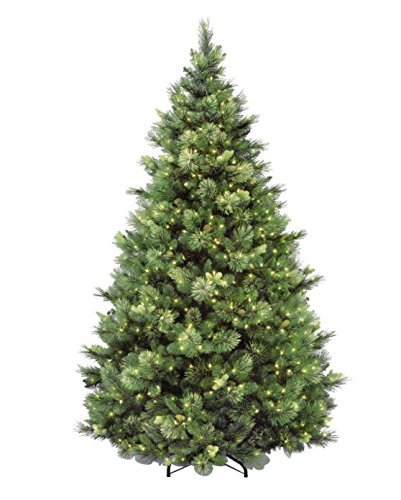 National Tree 7.5 Foot Carolina Pine Tree with Flocked Cones - Artificial Christmas Trees