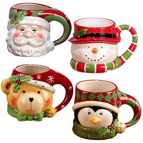 "Certified International""Santa, Snowman, Penguin & Bear"" 3D Figural Mugs - Christmas Mugs"