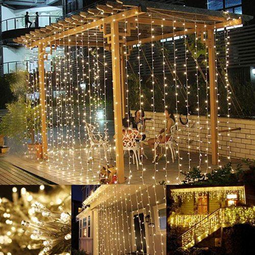 LE LED Window Curtain String Light, 306 LEDs Icicle Light String - LED String Lights for Christmas