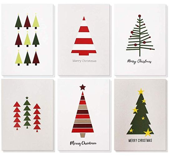 Merry Christmas Greeting Cards Bulk Box Set - Winter Holiday Xmas Greeting Cards - Christmas Greeting Cards