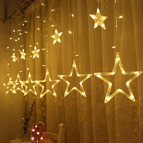 Twinkle Star 12 Stars 138 LED Curtain String Lights - LED String Lights for Christmas