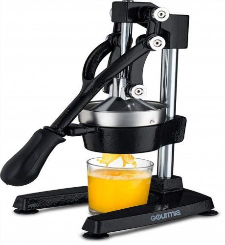 Gourmia GMJ9970 Large Citrus Juicer – Commercial Grade Press Orange and Lemon Press Juicing -Extracts Maximum Juice – Heavy Duty Cast Iron Base and Handle - Non-Skid Suction Foot Base