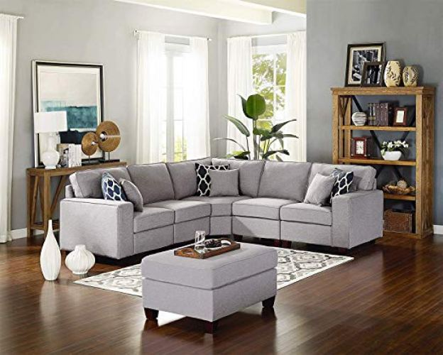 Modern Style Linen Fabric Sectional Sofa L Shape Couch - Corner Sofa (L shape sofa)