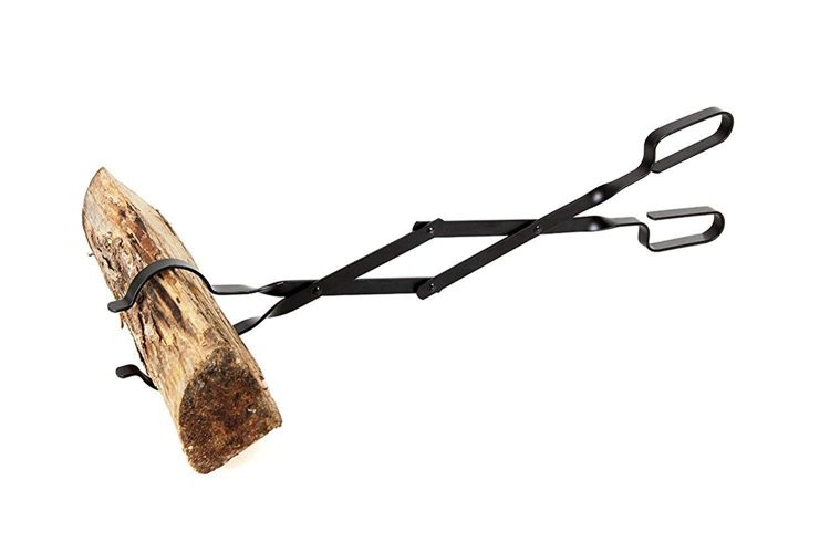 Log Grabber Fireplace Tongs Wood Fired Oven Tool Grill Camping Fire Pit Tool