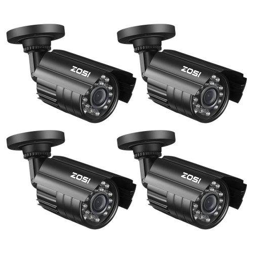 ZOSI 4 Pack Bullet Fake Security Camera with Red Light, Dummy Surveillance Camera Outdoor Indoor Use, Wireless Simulate Cameras for Home Security