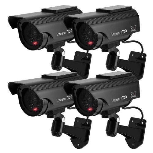 TOROTON Bullet Dummy Fake Security CCTV Solar Powered Camera Simulation Monitor with LED Blinking Light, Outdoor/Indoor Use for Homes & Business,4 Pack