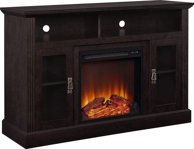 "Ameriwood Home Chicago Electric Fireplace TV Console for TVs up to a 50"", Espresso"