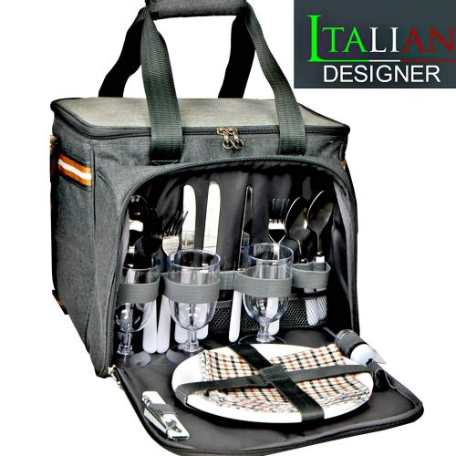 PREMIUM Extra Large Picnic Basket keeps food Hot/Cold for 12 Hours UPGRADED lunch tote For 4 People Picnics includes stainless steel spoons forks plates napkins wine With Flatware (PICNIC BASKET)