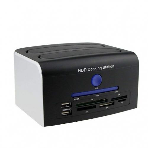 """Awolf HDD Docking Station, Multi-Function External Hard Drive Docking Station for 2.5"""" 3.5"""" IDE SATA 8 TB Hard Disk with One Touch Backup(OTB), Support XD/MS/TF/CF/SD Card"""