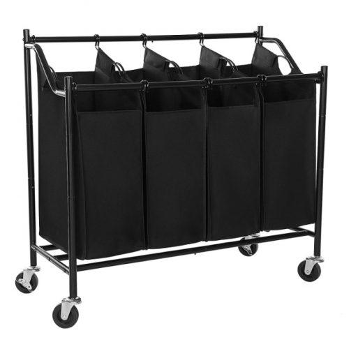 SONGMICS Heavy-Duty 4-Bag Rolling Laundry Sorter Storage Cart with Wheels Black URLS90H
